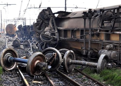 Italian train crash of propane wagons